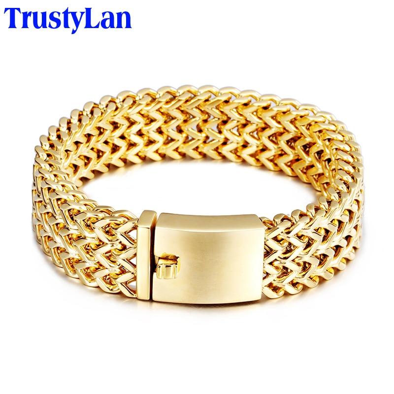 TrustyLan новый браслет Для мужчин ювелирные украшения Подарки для него Для мужчин s Браслеты и браслеты золото Цвет Нержавеющаясталь повязки ... ...