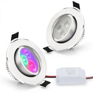 Image 2 - 8 ピース/ロット 5 ワット凹型ダウンライト、 rgb led 天井ランプスポットライト rgb コントローラ led ランプ電球ペンダント屋内照明 85 265 v