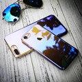 Floveme luxo blue ray case para iphone 7 plus ultra fino gradiente de moda chapeamento hard case para pc apple iphone 7 plus Coque