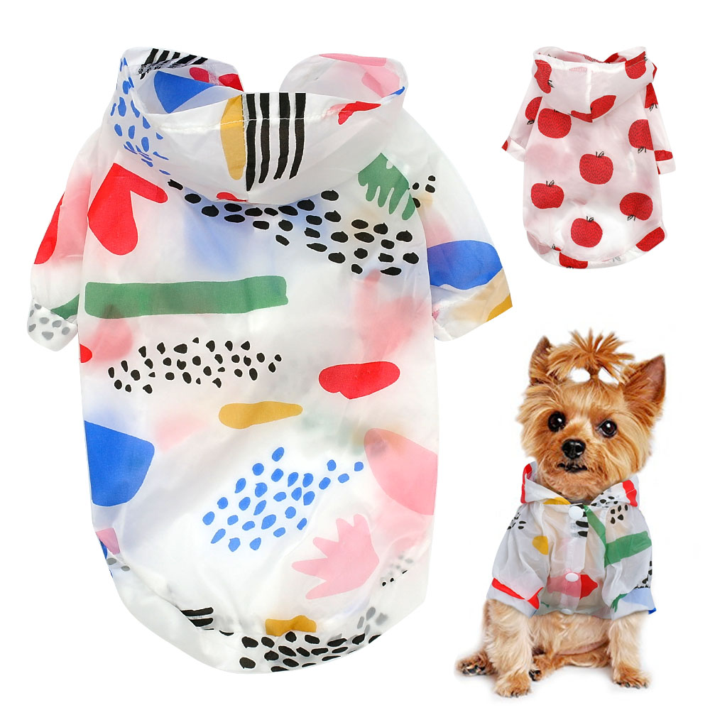 Dog Raincoat Sun-proof Clothing Summer Sun Protection Hoodie Small Dog Clothes Print Poncho For Small Medium Pets Puppy Cat 1