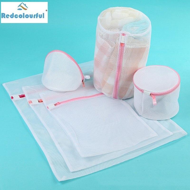 SaiDeng 6pcs White Thickening Durable Mesh Wash Laundry Bag Set Protection Washing Drying Bags Travel Organizers Zipper-25