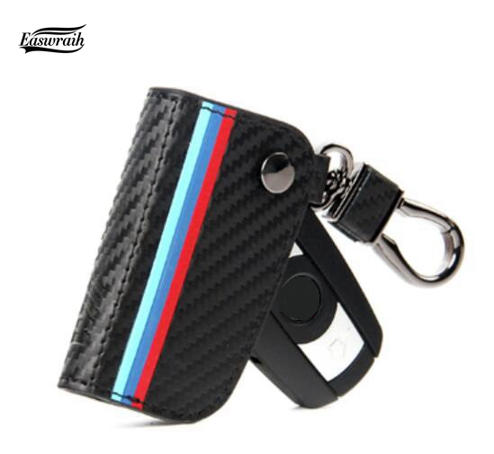 Auto Carbon Fiber Leather Key Cover Case Bag For BMW F30 E90 E88 E86 F10 F15 M3 M1 2 3 5 Series X1 X3 X4 X5 X6 Z4 GT CarStyling
