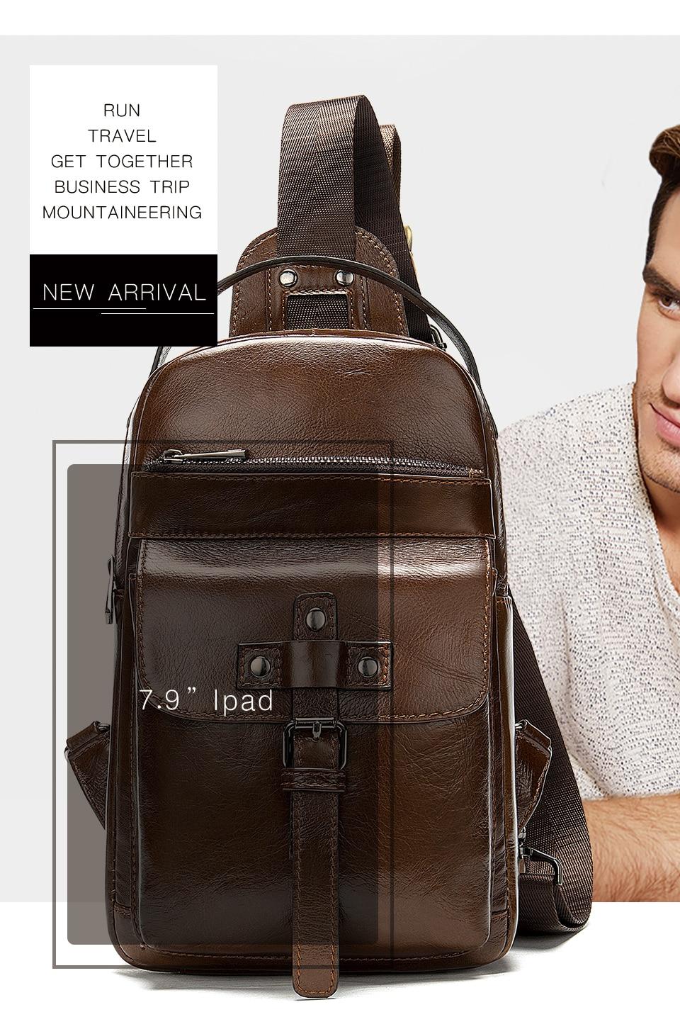 3 Men's Bag Leather Sling Bag Caual Men's Shoulder Bag Vintage Crossbody Bags for Men with Headphone Hole Travel Chest Pack