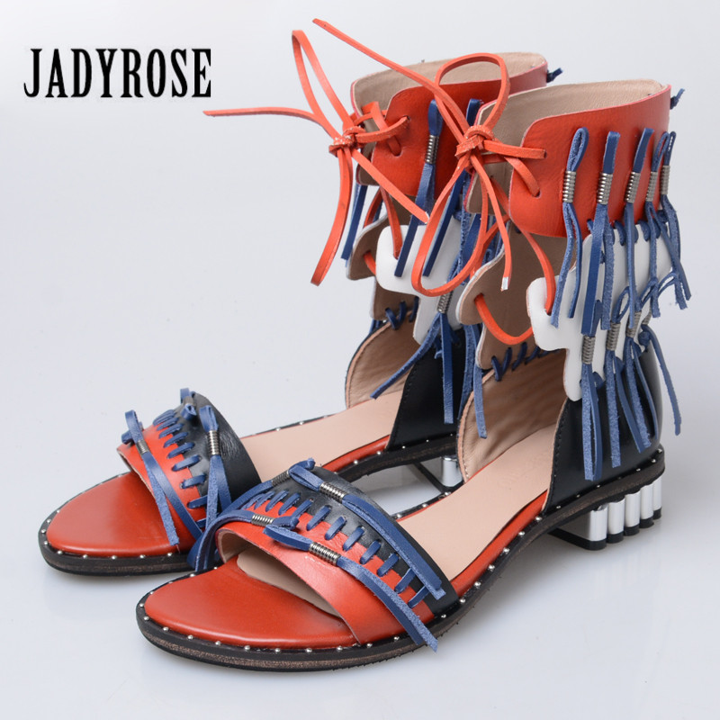 Jady Rose Women Gladiator Sandals Fringed Summer Beach Shoes Woman Mixed Color Lace Up Sandalias Mujer Tassels Flats instantarts women flats emoji face smile pattern summer air mesh beach flat shoes for youth girls mujer casual light sneakers