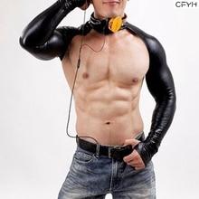 Sexy Faux Leather Sleeve Catsuit BodySuits 220D Latex Bodysuit Body Suits Men Long DJ Club Wear Bodies Black