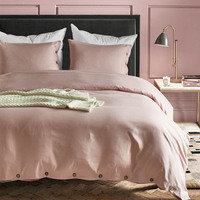Pink Luxury button duvet cover set US King Queen Twin size 3pcs/set bedding quilt cover set funda edredon dekbedovertrek 7colors