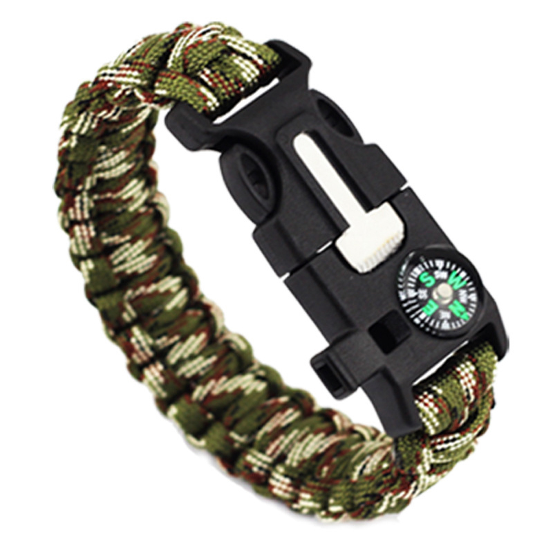 Braided Bracelet Men Women Paracord Outdoor Survival Bracelet Camping Rescue Emergency Rope Bangles Compass Whistle Knife 5 in 1