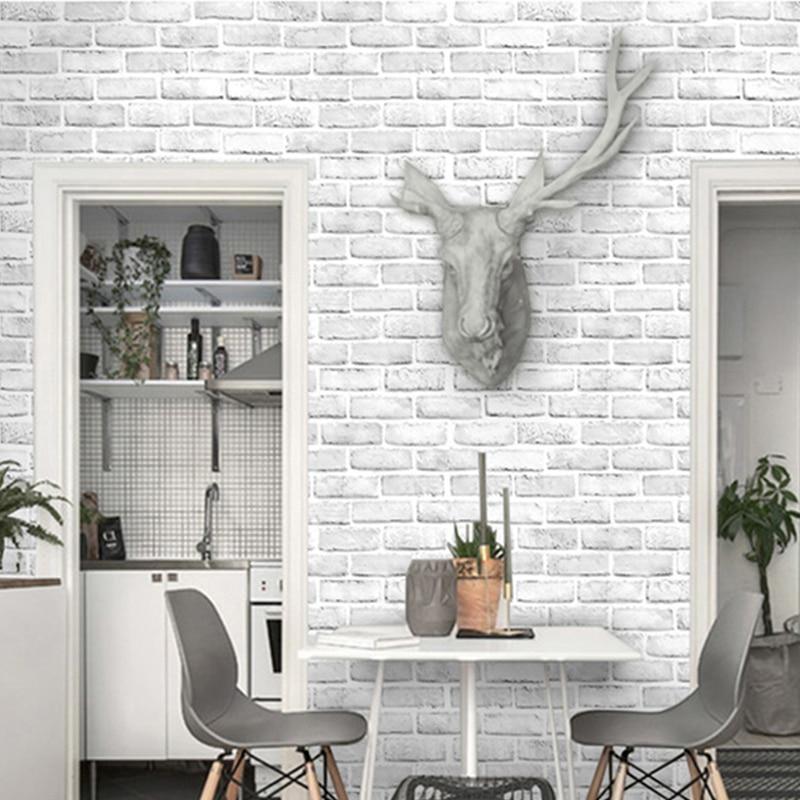 Modern Simple White Brick Wallpaper 3D PVC Self-Adhesive Waterproof Vinyl Wall Paper Kid's Bedroom Smooth Surface 3 D Home Decor