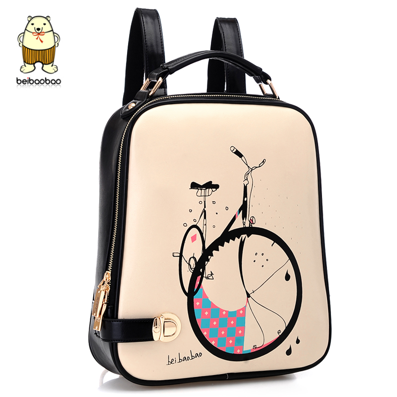 Cute backpacks small fresh bicycle printing backpack women casual ...