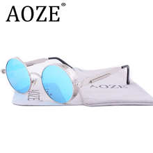 AOZE Round Metal Sunglasses  Men Women Fashion Glasses Brand Designer  Vintage Sun Glasses UV400 Gafas Oculos De Sol 2671