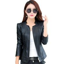 Outerwear Large Size 4xl Autumn Ladies Short Slim Genuine Leather Jacket 2018 New Fashion Leather Jacket Women Jaqueta De Couro