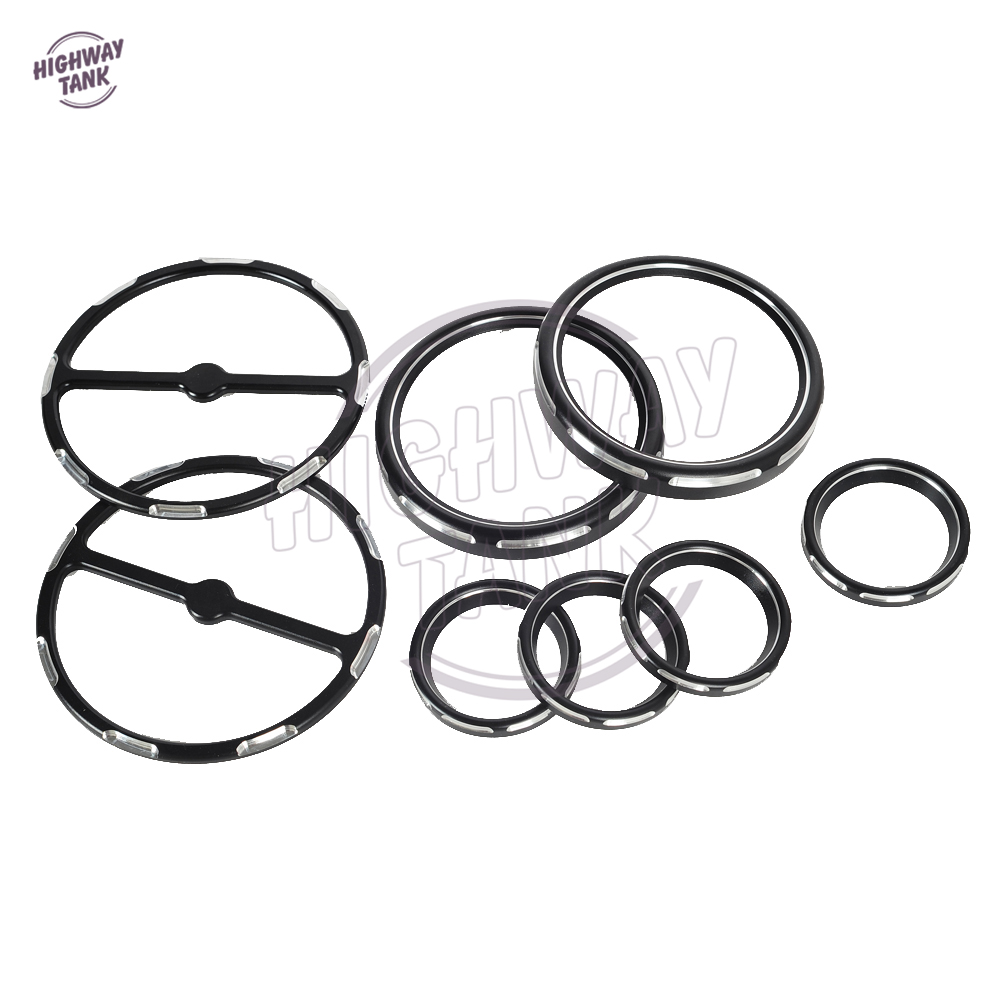 8pcs CNC Deep Cut Motorcycle Speedometer Gauges Bezels&Horn Cover Case for Harley Davidson Touring scooter parts 8pcs chrome speedometer gauges bezels and horn cover case for harley davidson touring free shipping