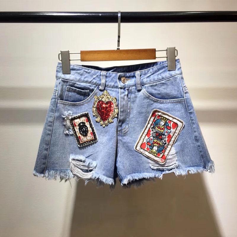 Agujero Vintage A Mujer Cortos 2018 Denim Moda Alta Bordado Pista Pantalones Nuevo Poker Verano Mano Nueva De Calidad ZqwazUPC