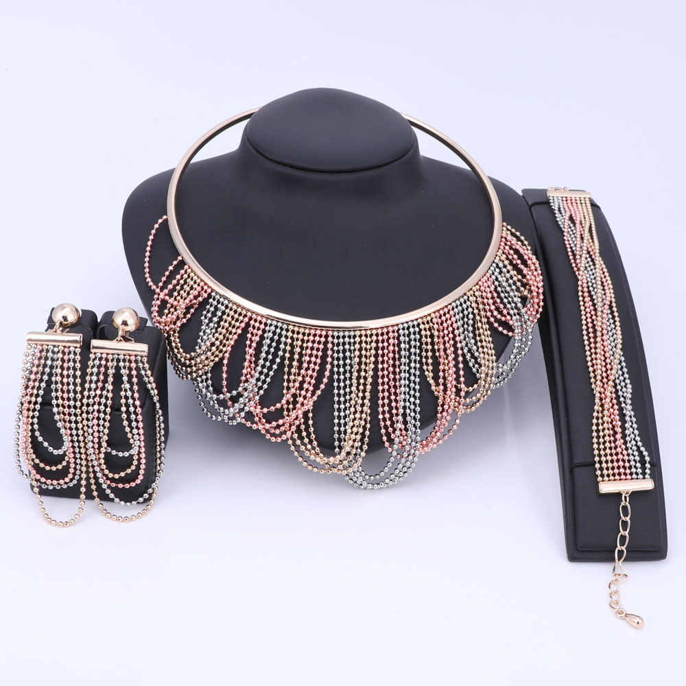 Women Wedding Gold Color African Beads Statement Necklace Earrings Bracelet Tassel Dubai Jewelry Sets Charm Accessories