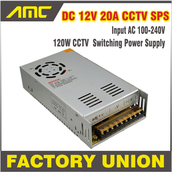 Universal 240w Adapter Switching CCTV Power Supply AC/DC Input AC 100-240V To DC 12V 20A Switch for DVR CCTV camera Power Supply 12v 5a 8ch power supply adapter work for cctv suveillance camera system dc 12v power supply 8 port dc pigtail coat
