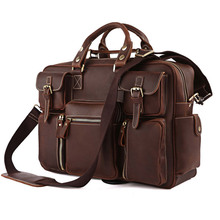 Free Shipping  Cool Office Crazy Horse Leathe Briefcase Messenger Bag # 7028R-1