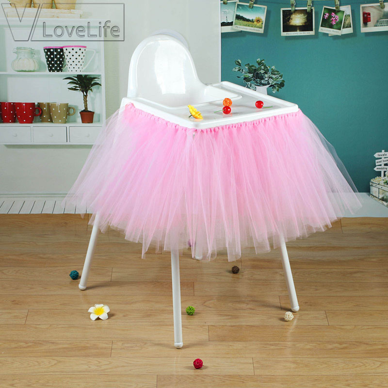 Baby Pink Tutu Skirt Tulle Chair Skirts Baby Shower Birthday Decoration for High Chair Home Textiles Party Supplies 100cm x 35cm