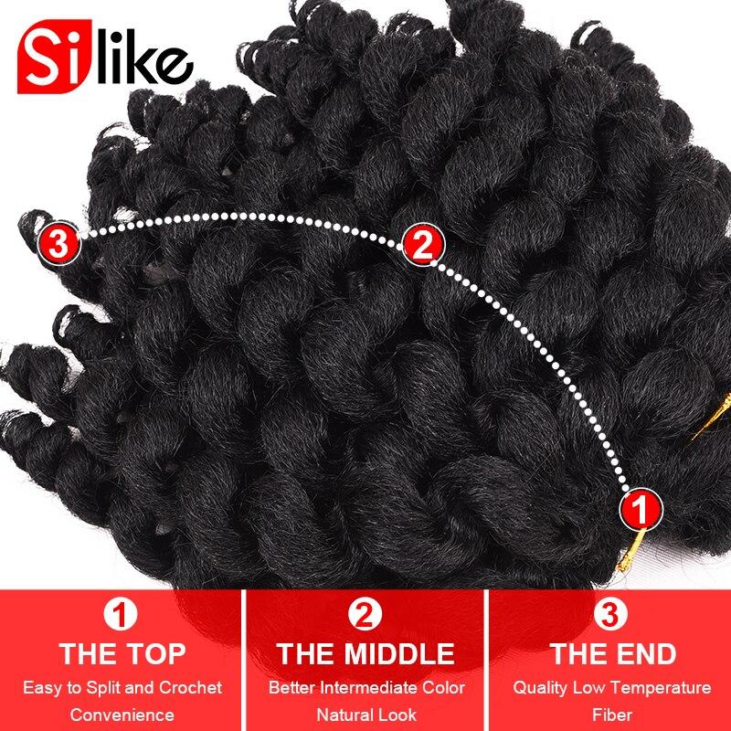 Silike Jumpy Wand Curl 8inch 80g Jamaican Bounce Crochet Hair 22 - Syntetiskt hår - Foto 3