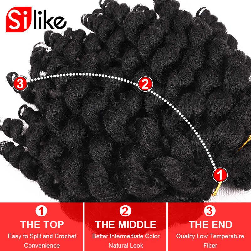 Silike jumpy Wand Curl 8 дюймов 80 г ямайский отскок крючком волос 22 корня африканские синтетические плетеные волосы низкотемпературное волокно