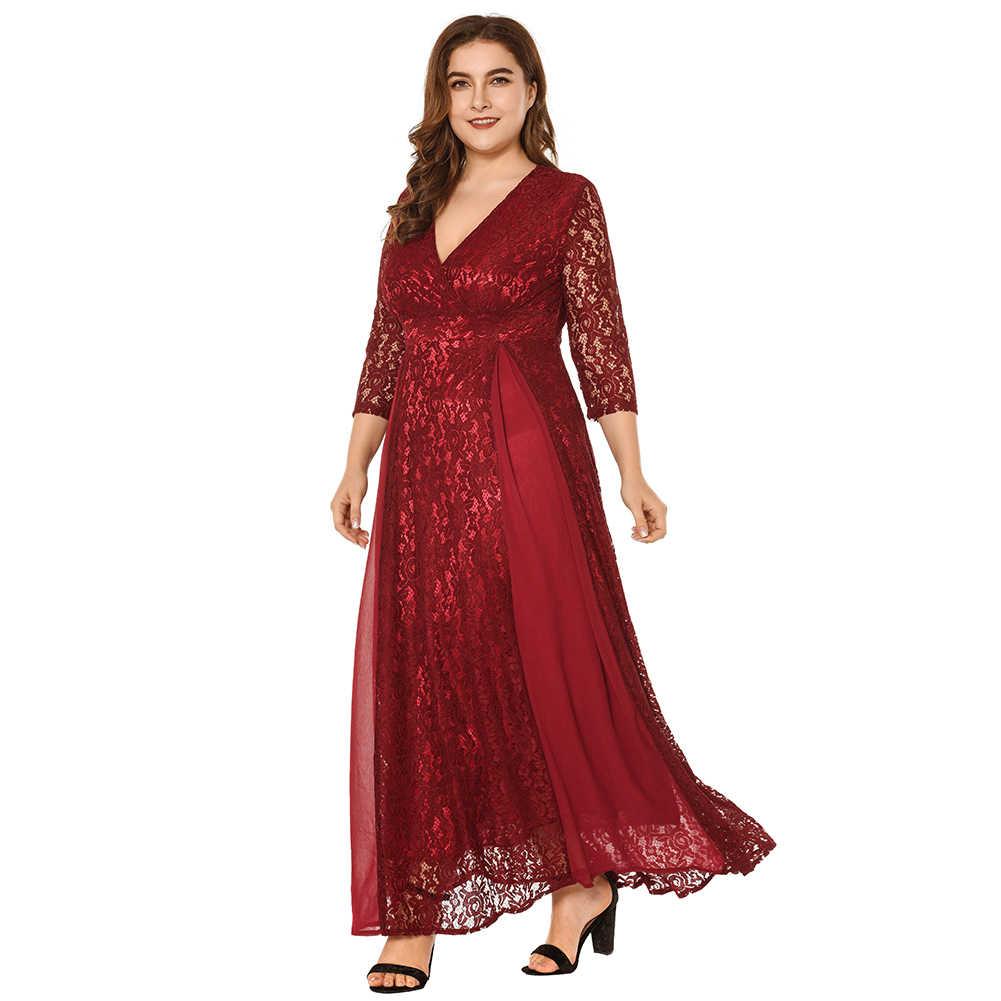 448356511ab Women Summer Oversize Lace Dress Solid Mesh Patchwork Chiffon V-Neck High  Waist Maxi Gown