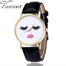 Vansvar moda pestañas y reloj con labios Casual mujer relojes de pulsera Vintage de cuero único reloj de cuarzo reloj femenino V31