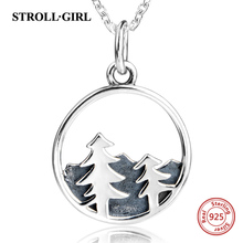 Strollgirl Plant Collection 925 Sterling Silver Pine Tree Necklaces & Pendants Women Jewelry Christmas Gift
