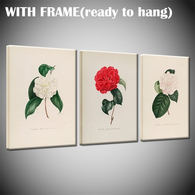 3 Panel Hd Colorful Camellia Flowers Nordic Simple Canvas Painting Flowers Posters And Prints Wall Pictures Drop Shipping Painting Calligraphy Aliexpress