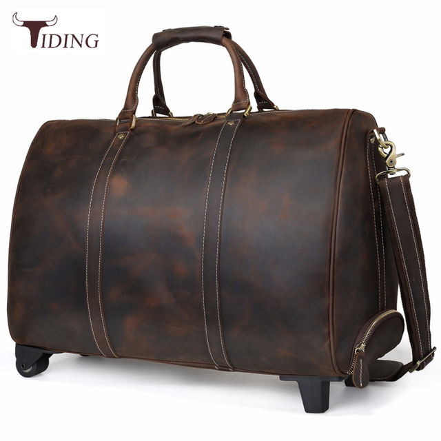 Tiding Genuine Leather Travel Luggage Bags On Wheels Cowhide Suitcase Retro  Style Rolling Duffle Bag Large Messenger Dark Brown 4d27c9f036b63