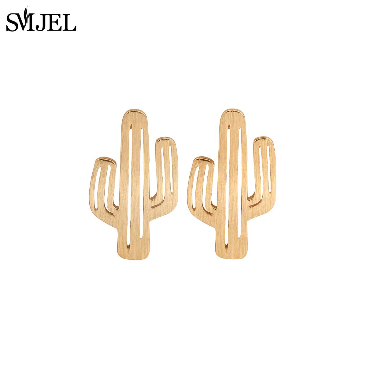 SMJEL New Fashion Big Cactus Post Earrings for Women Small Cactus Stud Earrings Party Gift S122