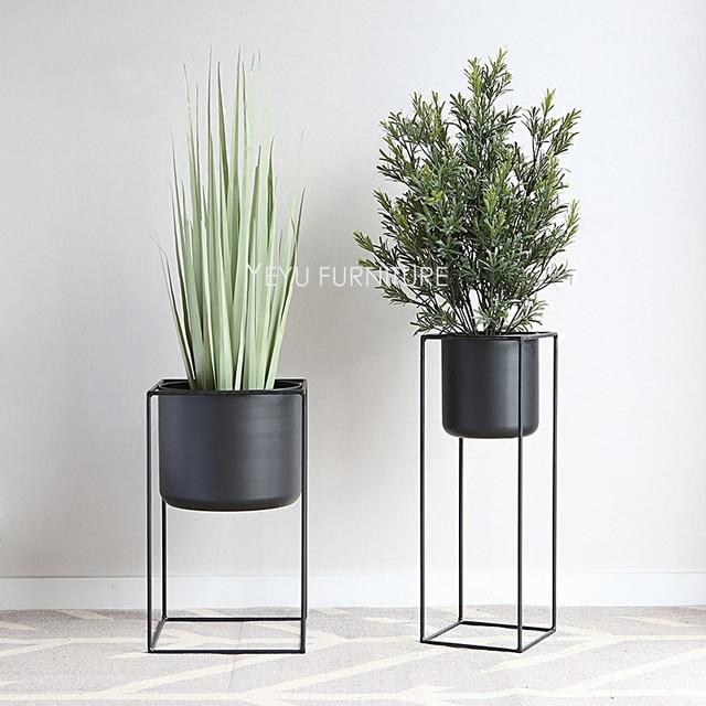 Modern Design Loft Metal Flower Plant Shelf Rack Floor Stand Side Plants Storage Style Decoration Racks 1pc