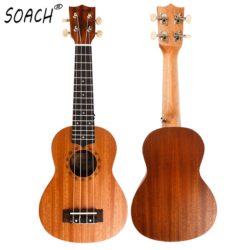 SOACH 21 pulgadas ukelele estudiante guitarra principiante Soprano hecho a mano palisandro diapasón caoba cuerpo guitarra 4 cuerdas
