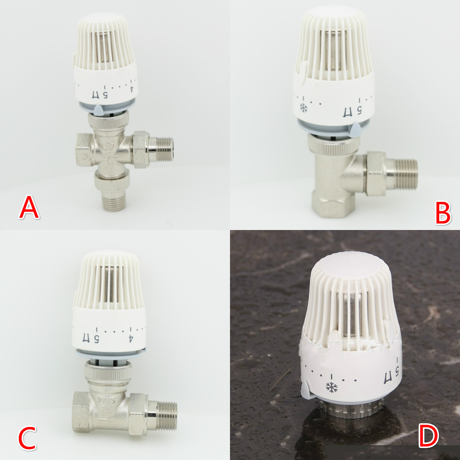 Thermostatic Radiator Brass  Valve DN15 DN20 DN25  Floor Heating System Thermostatic Radiator Valve Head