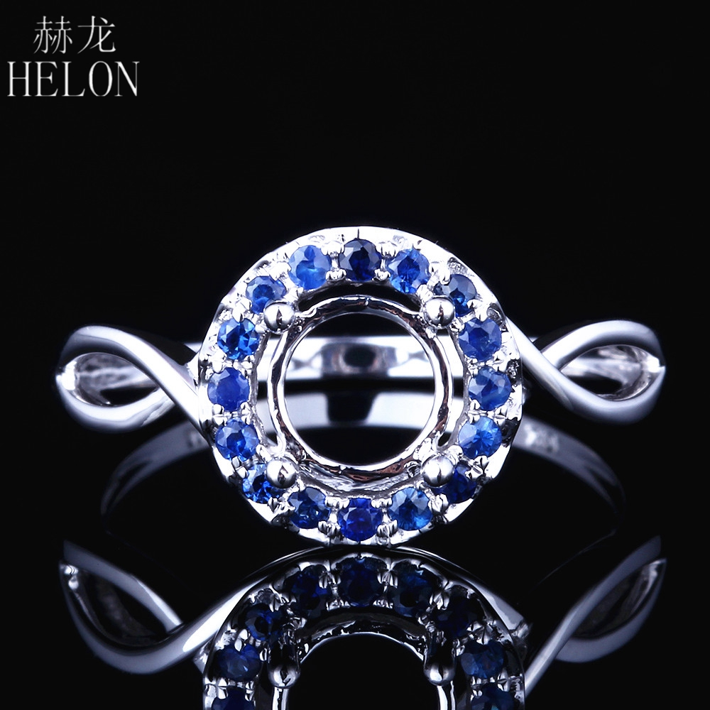 HELON Solid 10K White Gold 0.2ct 100% Genuine Sapphires Semi Mount Engagement Wedding Trendy Jewelry Ring 6.5-7mm Round SettingHELON Solid 10K White Gold 0.2ct 100% Genuine Sapphires Semi Mount Engagement Wedding Trendy Jewelry Ring 6.5-7mm Round Setting