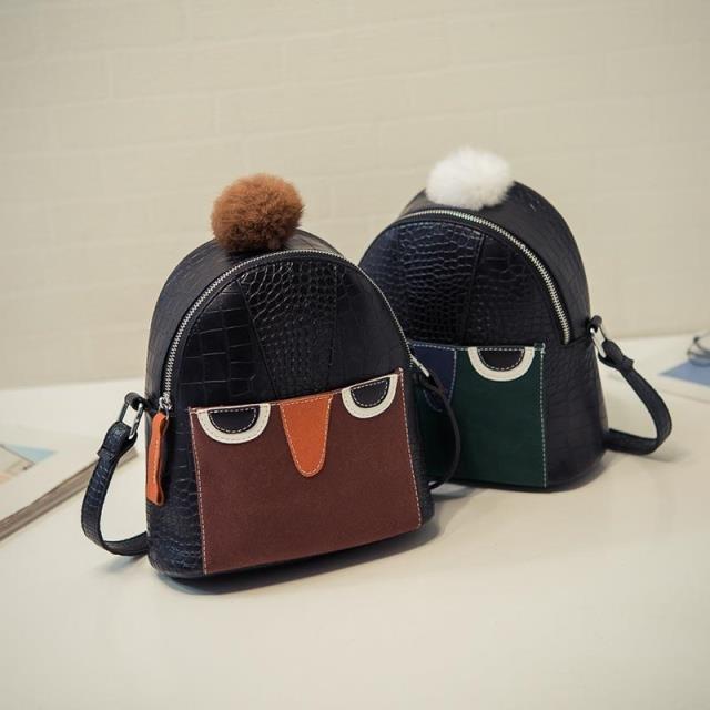 Female new cartoon crocodile embossed bags fashionable shoulder hair ball stitching bag
