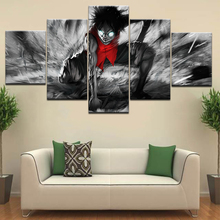Luffy de una pieza de dibujos animados modernos 5 Panel HD Print pared pósters Canvas Art Painting para la decoración de la sala hogar