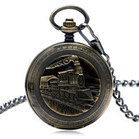 Steampunk Locomotive 3D Steam Carving Train Cover Fob Chain Men Women Pendant Mechanical Pocket Watch for Clock Gifts