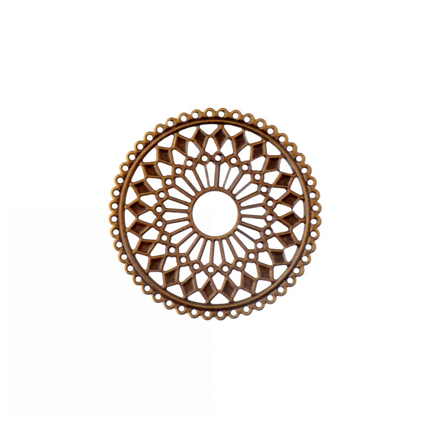 Free Shipping 10Pcs Bronze Filigree Round Flower Wraps Connectors Metal Crafts Gift Decoration DIY Findings 60mm
