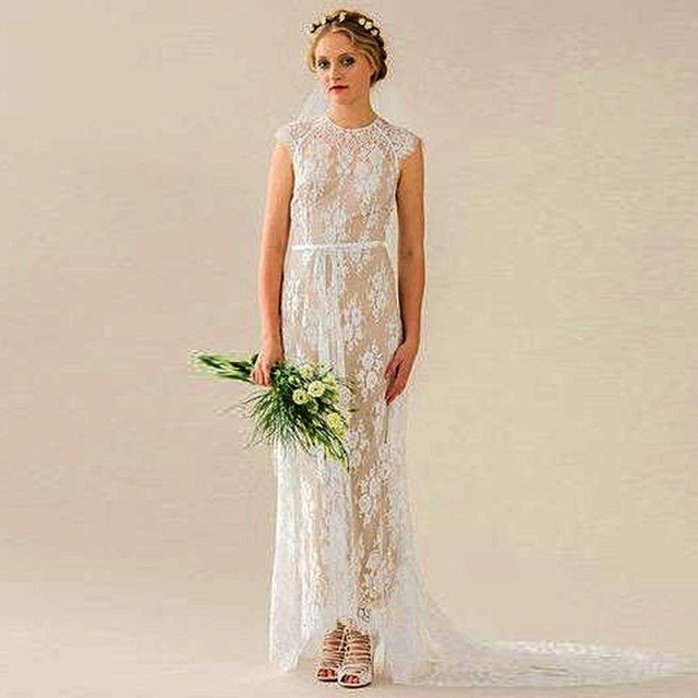 baa9f96395 Vestido De Noiva Lace Beach Wedding Dress 2016 Champagne And Cream-Colored  Oneck Short Sleeve Boho Wedding Gown