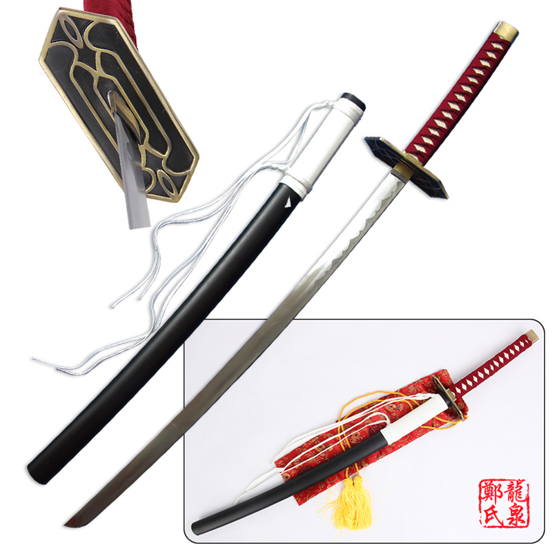 Free Shipping Bleach Anime Sword Kurosaki Isshin Katana Carbon Steel Blade Cosplay Props Decorative Swords No
