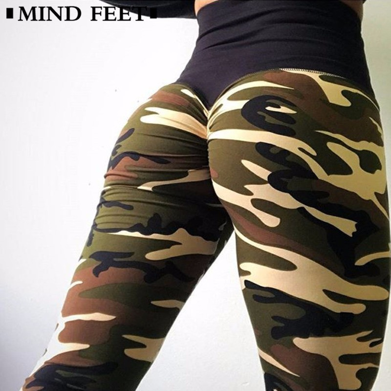 MIND FEET High Waist Woman Leggings Camouflage Lift Hip Skinny Stretch Printing Fitness Pants Exercise Women Pants Underpant