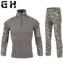 Camouflage Tactical Military Clothing Paintball Army Cargo Shirts Combat Trousers Multicam Militar Tactical Sets With Knee Pads(China)
