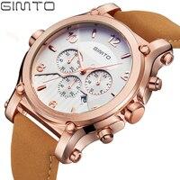 GIMTO Brand Rose Gold Luxury Men Watch Leather Sport Carendar Quartz Male Watches Army Military Wrsitwatch