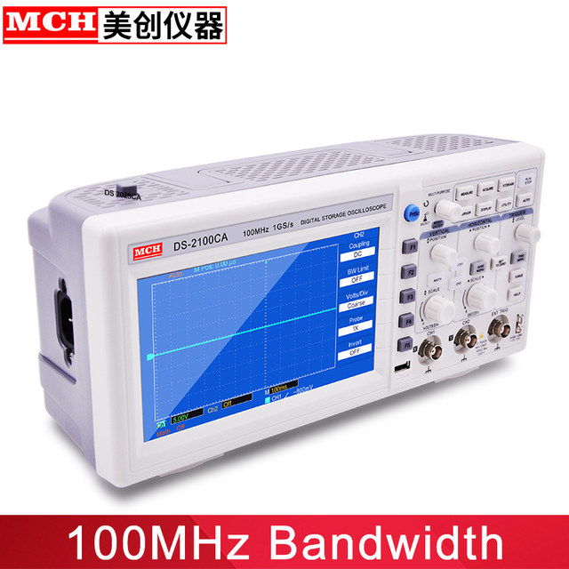 "100MHz Digital Oscilloscope with 7"" Large LCD Color Screen 2 Channel Digital Storage Oscilloscope Handheld usb oscilloscope"