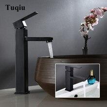 Смеситель для раковины, черный латунный кран, квадратный кран для ванной комнаты, кран для раковины с одной ручкой, кран для ванны, латунный кран для раковины, кран для воды