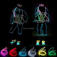 GZYUCHAO EL New Glowing Performance Costume Hip Hop Dance Light Up Costume Led Luminous Clothing EL Wire Clothes