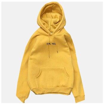 цена на Yellow Sweatshirt Red Pullover Hoodie Oh Yes Tops Kangaroo Pocket Hoodie Poleron Mujer 2020 Plain Black Hoodie Oversize Women