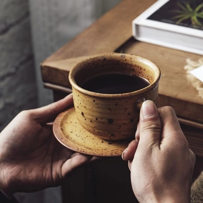 handmade japanese stoneware coffee cup dish mug cup with retro minimalist suit creative giftchina