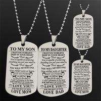 European Ornaments TO MY SON In The Card Necklace women Stainless Steel Dog Tag Can Customized Lettering Gift HER614 shoul colar