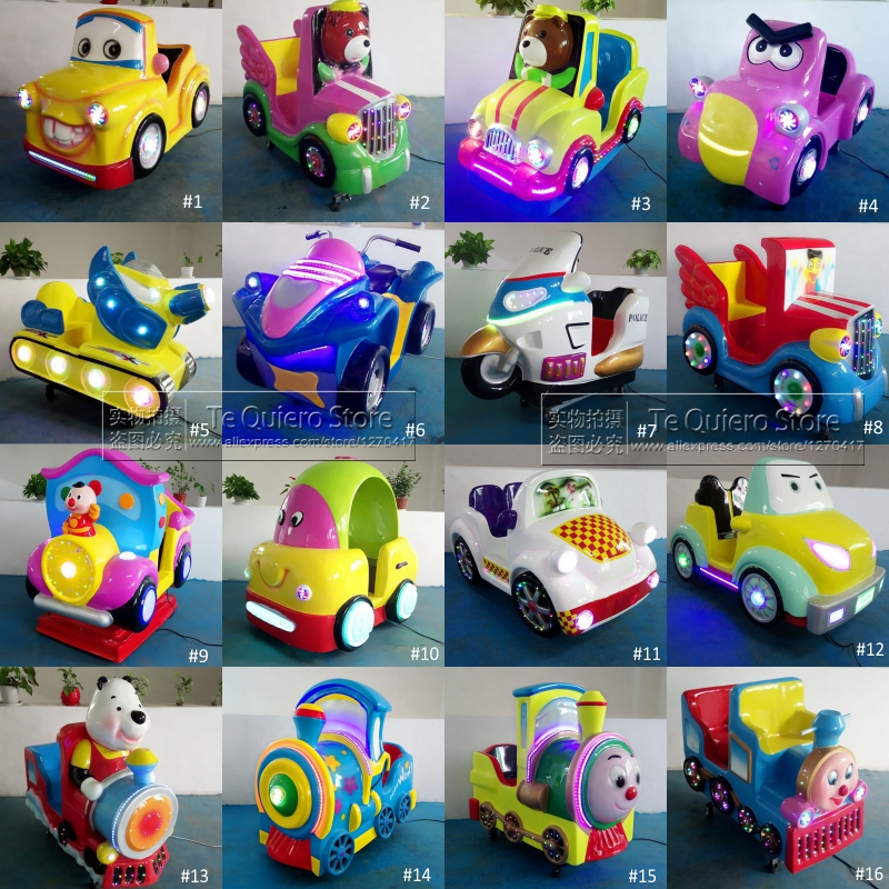 Coin Operated Fiberglass Bear Car Toy Kiddie Rides Games Swing Machine With Music and Lights