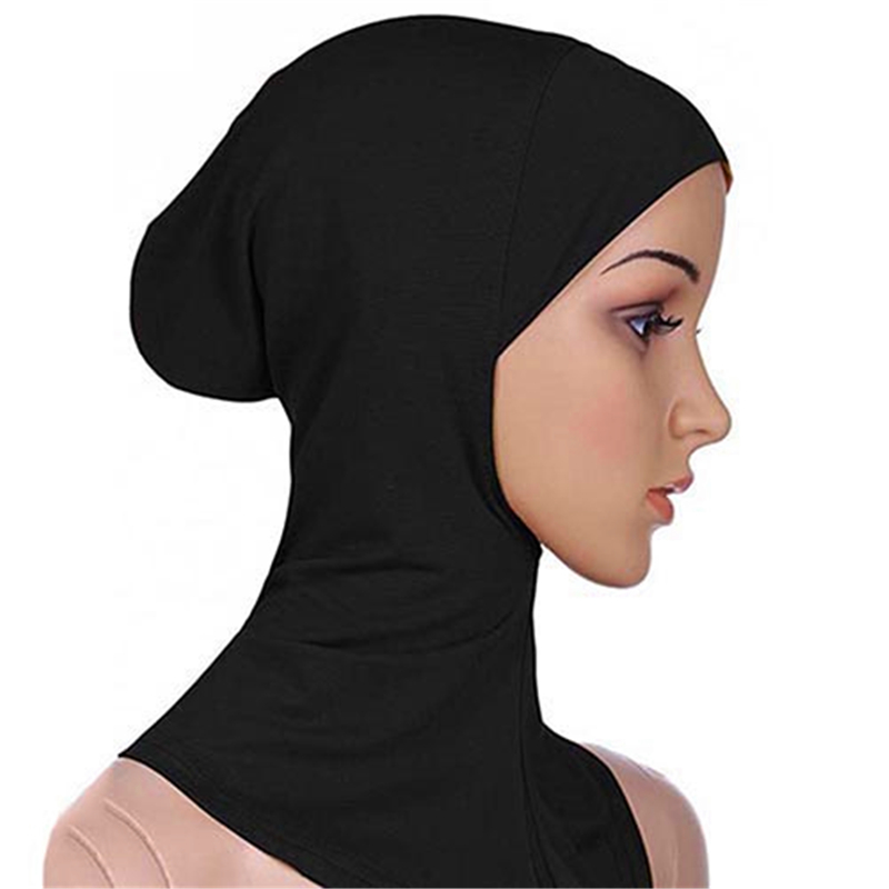 New Arrival Muslim Elastic Full Cover Inner Hijab Head  One Size Solid Color Ethnic Style Neck Cap Underscarf Islamic Hat 2019